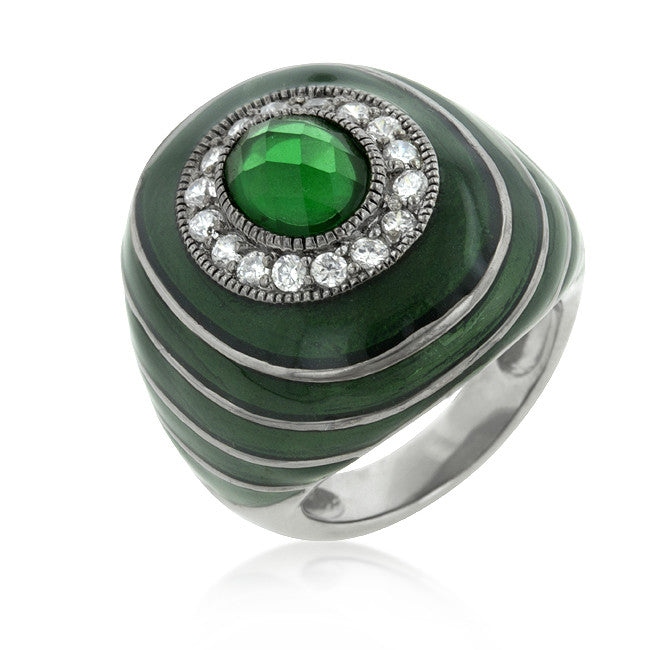 Green Enamel Crystal Cocktail Ring