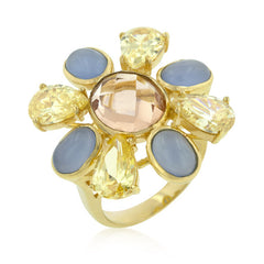Multi-CZ Floral Golden Ring