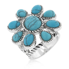 Turquoise Cabochon Antique Cable Style Ring