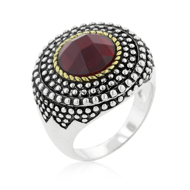 Textured Red Crystal Cocktail Ring