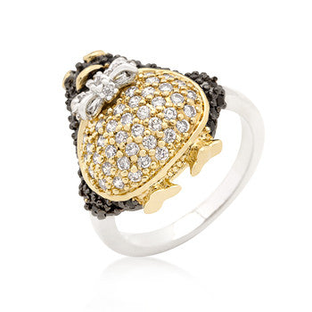 Jet Black CZ Penguin Ring