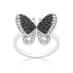 Black and White CZ Butterfly Ring