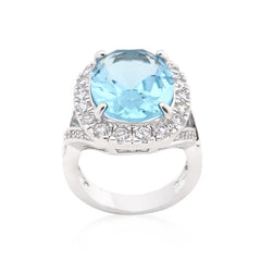 Ocean Gaze - Oval Blue Topaz White Gold Ring