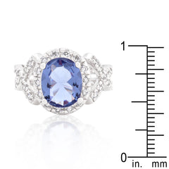 Violet Ecstasy - Beautiful Tiered CZ Accents With Violet Center Stone On White Gold Ring