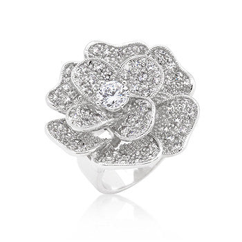 Large Flower CZ Cocktail Ring