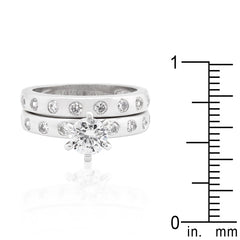 Silver Bezel - Double Bridal Ring With CZ Accents