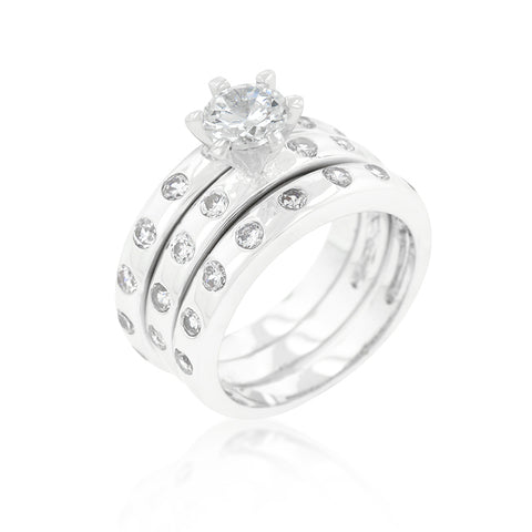 Sparkling Threesome - Triple Bridal Engagement Ring With CZ