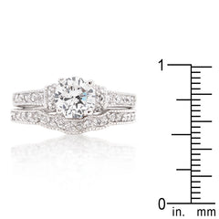 Classic Proposal - Bridal Art Deco Double Ring With Cubic Zirconia