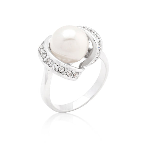 Decked Up Pearl - CZ Accent Single Pearl White Gold Ring