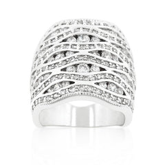 The Masterpiece - Abstract Overlay Of CZ on White Gold Ring
