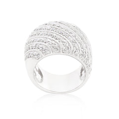 Crystal Ridges - Rippled Cubic Zirconia Carpet White Gold Ring