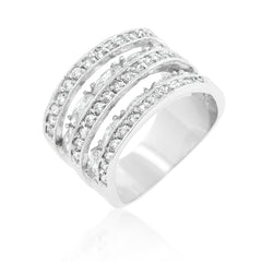Crystal Colosseum - Roman Design White Gold Cubic Zirconia Ring