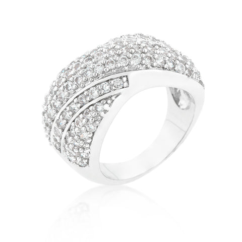 Tangled - White Gold With CZ Cocktail Ring