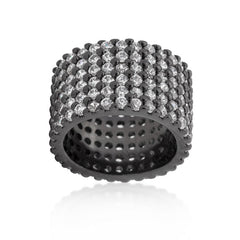 Hematite Wide Pave CZ Ring