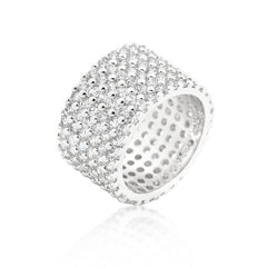Silvertoned Wide Pave CZ Ring