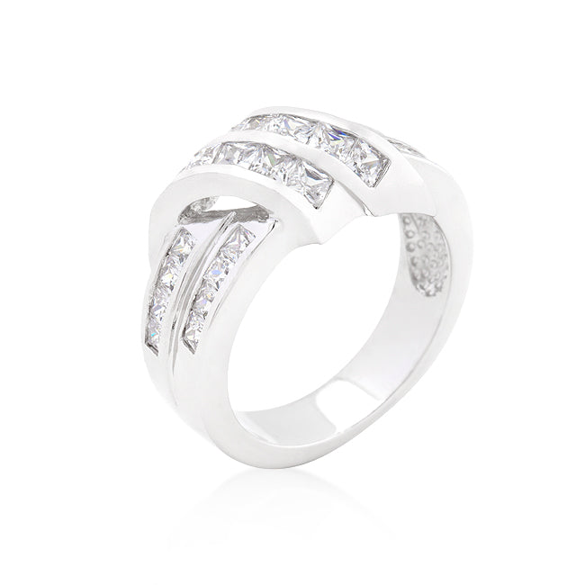 Head over Heels - Classic Double Strand White Gold CZ Ring