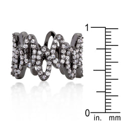Black Magic Mirrors - Ovular Faded Design Cubic Zirconia Ring