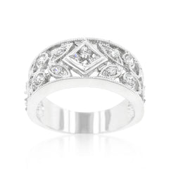 Eve's Diamond - Floral Filigree CZ White Gold Ring
