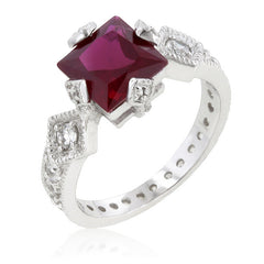 Ruby CZ Sterling Silver Engagement Ring