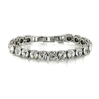 Big Round CZ Tennis Bracelet in Antique Silver