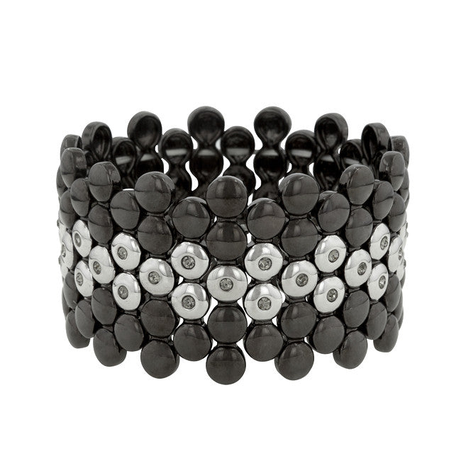 Two-Tone Black and White Stretch Bracelet