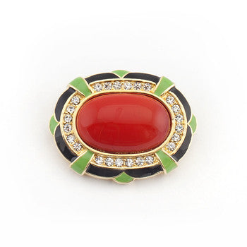 Enamel and Clear Crystal Brooch