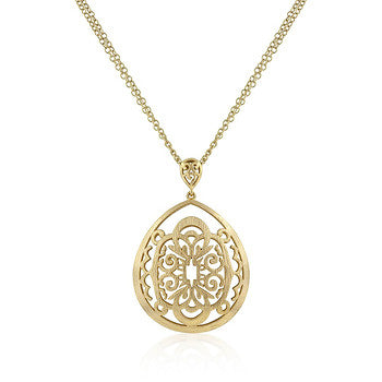 Native Crest Brushed Filigree Gold Long Necklace
