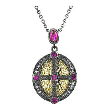 Pink Tourmaline Cubic Zirconia Tutone Crest Necklace
