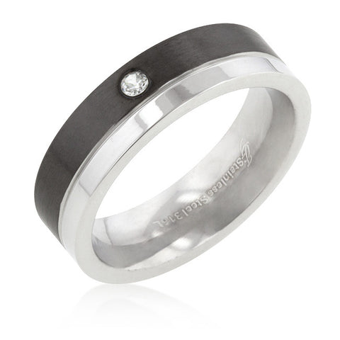 6 mm Two-Tone Stainless Steel Solitaire Band