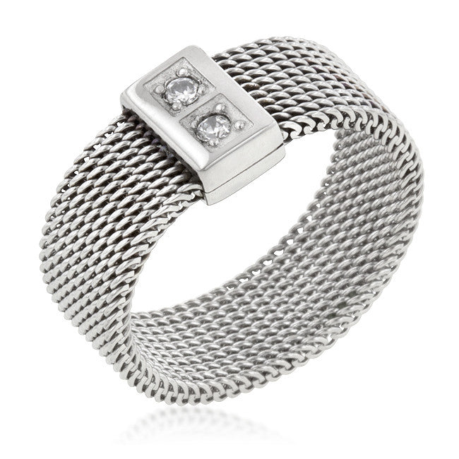 Stainless Steel Mesh 2-Stone Band