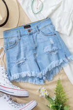 Poison Mushroom Distressed Denim Shorts