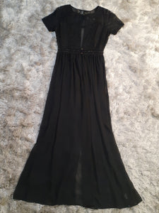 Black Embroidered Bolo Dress