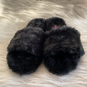 Black Fluffy Slippers
