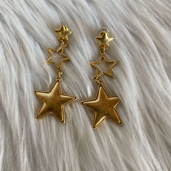 3 Star Drop Earrings