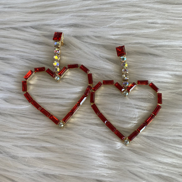 Heart of Glass Earrings in Ruby