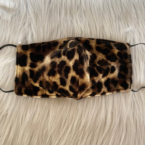 Fuzzy Leopard Print Face Mask