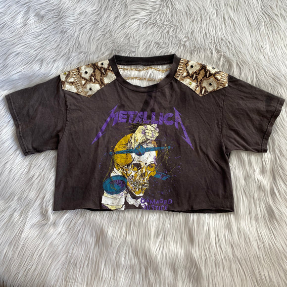 Upcycled Metallica Shirt with Chain