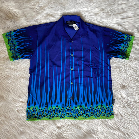 Vintage Silver Point Blue Flames Shirt