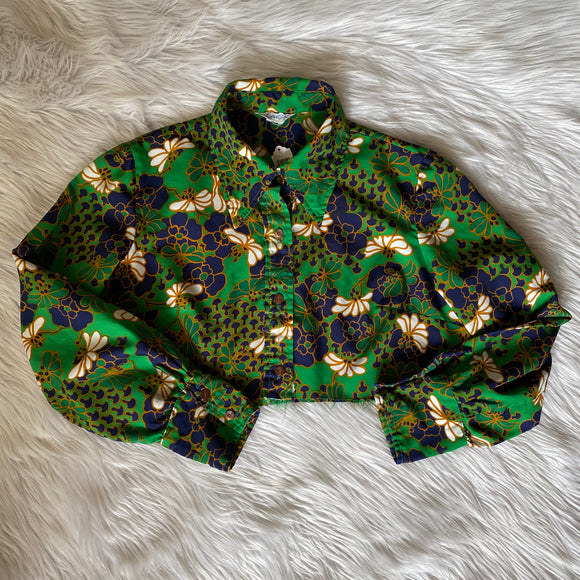 Vintage Green Floral Cropped Long Sleeve