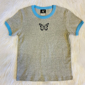 Blue Butterfly 90s Baby Shirt