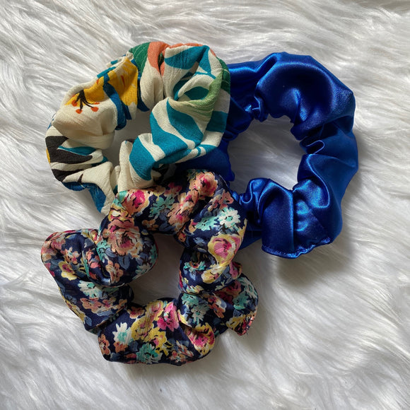 Set of 3 Scrunchies (Blue)