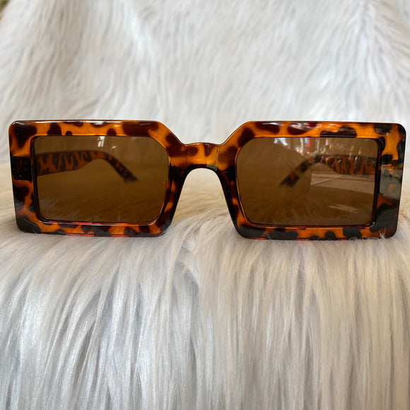 Leopard Print Rectangular Sunglasses
