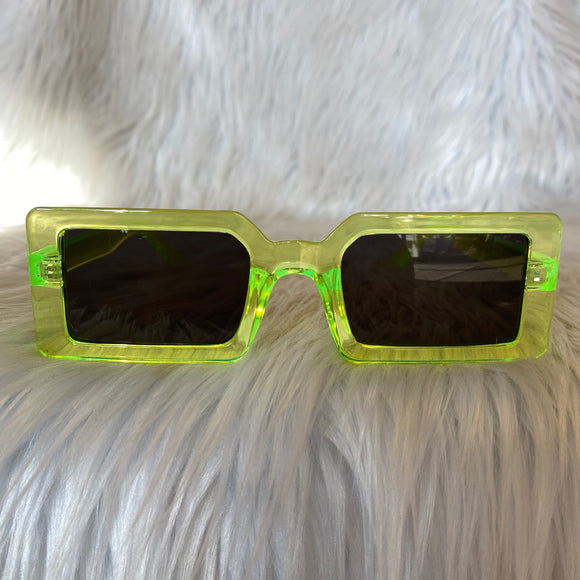 Lime Green Rectangular Sunglasses