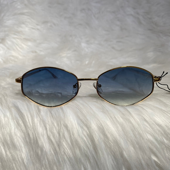 Blue Retro Geometric Sunglasses