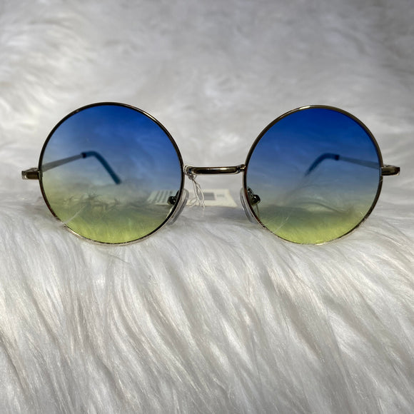 Blue Ombre Circle Frame Sunglasses