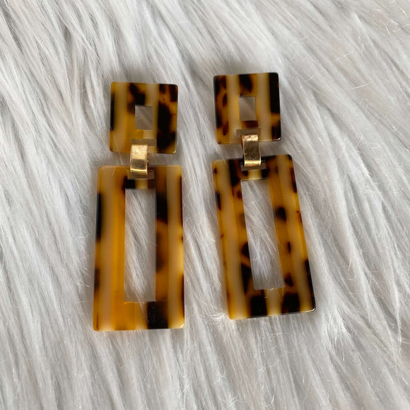 Leopard Print Geometric Earrings
