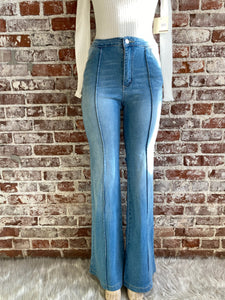 High Rise Bell Bottoms With Vertical Seam Detail