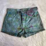 Upcycled Tie Dye Brandy Melville Shorts ( Green Multi)