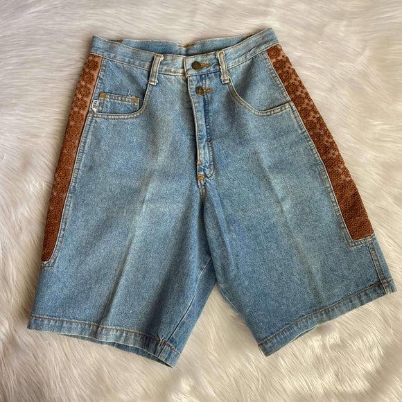 Vintage High Waisted Shorts with Embroidery