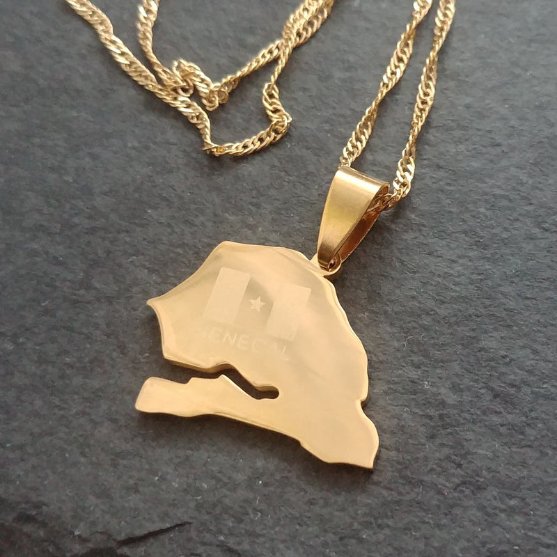 Senegal Flag Map Pendant - Iṣura